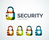 Abstract lock logo design made of color pieces - various geometric shapes