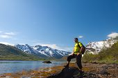 Sportsman Near Mountain Lake