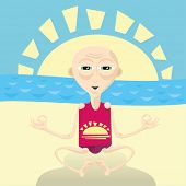 Abstract vector illustration of yoga man sitting on the beach
