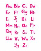 Hand drawn type font, pink children alphabet vector illustration isolated on white background