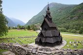 Beautiful landscape with the Borgund Stave Church, Lærdal, Sogn og Fjordane County, Norway.