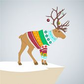 Editable vector illustration. caribou in colored striped sweater with Christmas toys on the horns.