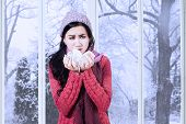 image of cough  - Portrait of pretty girl holding many tissue on her hands for cough and sneeze in winter day - JPG