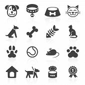 stock photo of petting  - Trendy pet icons isolated on white - JPG