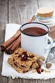 Baked oatmeal bars with spiced hot chocolate