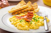 Scrembled Eggs With Panini Toast And Donut