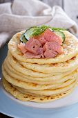 Scandinavian potato pancakes with salmon