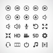 Video interface icon on white. Vector