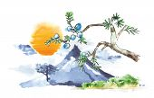 Mountain Fuji and sun, volcano, japanese art, vector illustration