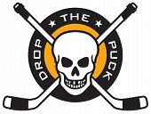 Hockey emblem with skull and crossed hockey sticks
