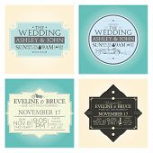 a set of different wedding cards on different colored backgrounds