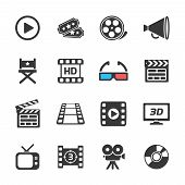Cinema and movie icons white. Vector