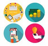 Money, Team Work, Idea, OnlineShopping  Flat Design Concept Vect