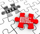 Idea acronym meaning Identify Define Execute Agument words on a puzzle piece for diagnosing and solving a problem or issue to improve a situation in business, life or career