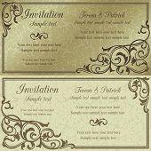 Baroque invitation, brown and beige