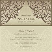 Orient invitation, brown and beige