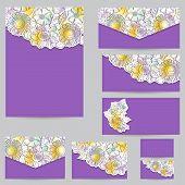 Set Design For Business Cards, Envelopes, Floral Backgrounds