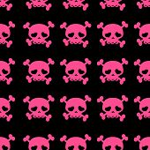 skulls on crossbones, black and white pattern