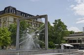 Modern fountain in central square of Plovdiv town