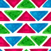 Watercolor Seamless Geometric Pattern With Colorful Triangles. Vector Background