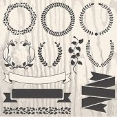 Set Of Retro Vector Graphic Elements For Design On Grunge Wooden Background. Floral Frame And Ribbon