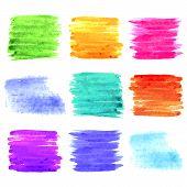 Square Watercolor Design Elements. Colorful Background Set. Vector Illustration