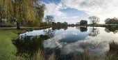 Beautiful Countryside Lake Landscape On Crisp Autumn Morning
