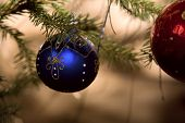 Christmas Blue Ball With Twig Of Fir