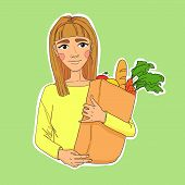 Hand Drawn Illustration. Healthy Eating Secret Of Beauty. Young