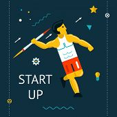 Retro Flat Design Space Launch Start Up Rocket Javelin Thrower Businessman Concept New Business Proj