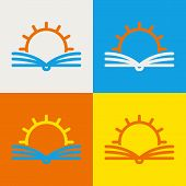 Vector Logo Design Template. Abstract Line Sun And Open Book. Education, Library, School, University