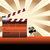 stock photo of crew cut  - Abstract colorful illustration with colored clapboard and small movie camera shape - JPG