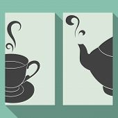 Business Card Set With Silhouettes Teapot And Cup