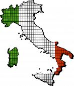 picture of italian flag  - Italy map grunge mosaic, 