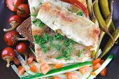 traditional italian cannelloni with fresh tomato cherry peppers