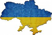 Ukraine map with flag inside