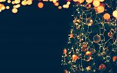 Magic Christmas Tree And Lights Bokeh Garland, Christmas Decoration Background