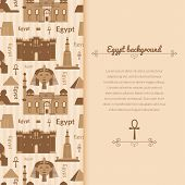 foto of ankh  - Landmarks of Egypt vector background in flat style with vertically space for text - JPG