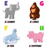 picture of behemoth  - spanish alphabet with different animals - JPG