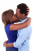 African American Young Couple Kissing