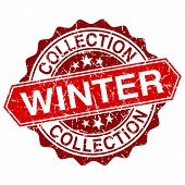 Vector Winter Collection Red Vintage Stamp Isolated On White Background