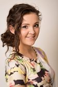 Beautiful Brunette Woman With Curls