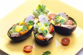 picture of avocado  - avocado filled with chicken salad and avocado dip - JPG