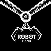 image of robot  - vector robotic arm symbol icon - JPG