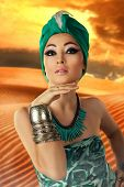 image of turban  - Beautiful woman in oriental style in turban - JPG