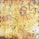 stock photo of treasure map  - old treasure map on wooden grunge background - JPG