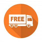 picture of free-trade  - free delivery orange flat icon transport sign  - JPG