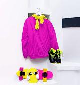 foto of skateboarding  - Set skateboarder - JPG