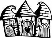 image of huddle  - A whimsical doodle drawing of three quirky houses huddled together in a little village - JPG