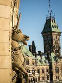 stock photo of unicorn  - Unicorn statue on the parliament buildings in ottawa ontario - JPG